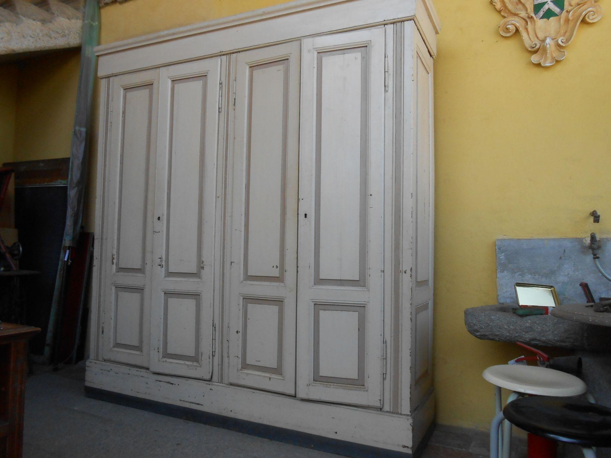 armadione grande armadio da sacrestia Luigi Filippo 4 ante abete ...