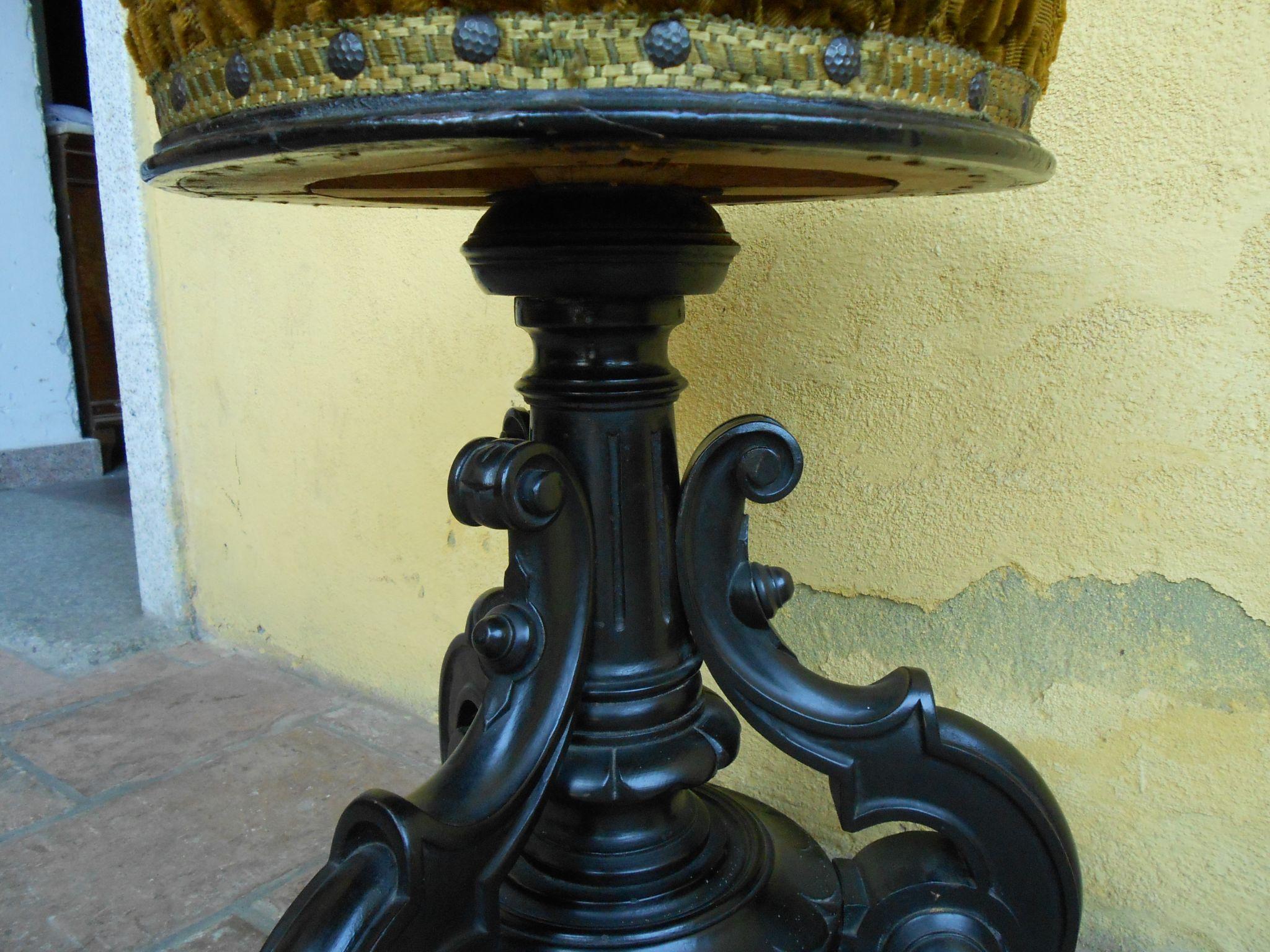 Antico sgabello da pianoforte luigi filippo rinascimento noce